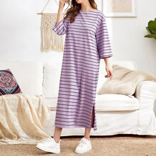 Split Hem Striped Dress