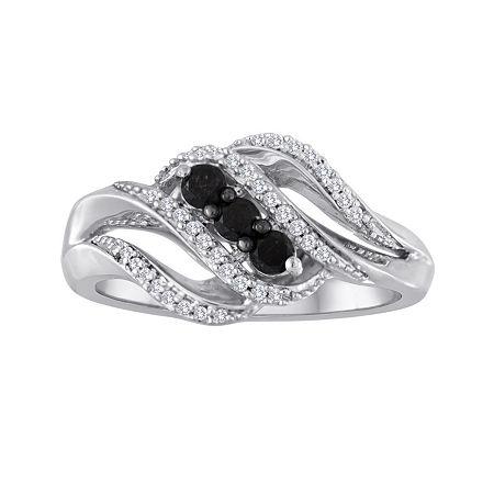 Midnight Black Diamond 1/3 CT. T.W. White and Color-Enhanced Black Diamond 3-Stone Crossover Ring, 7 , White