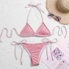 Velvet Triangle Tie Side Bikini Swimsuit