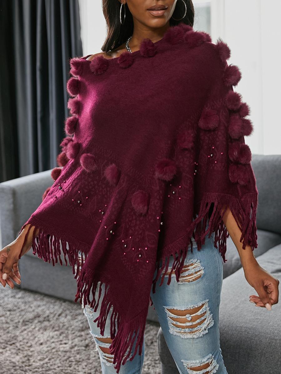 LW lovely Stylish Tassel Design Asymmetrical Red Sweater