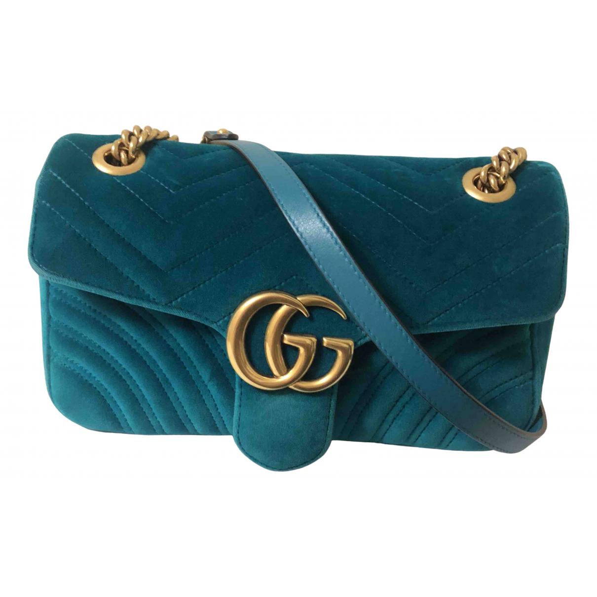 Gucci - Sac a main Marmont pour femme en velours - turquoise