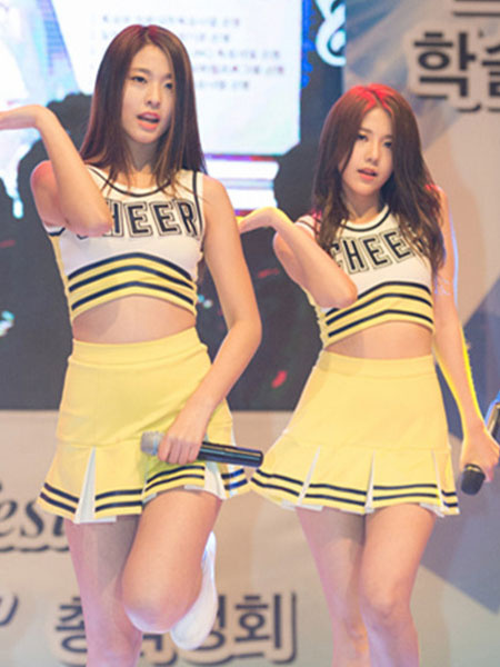 Milanoo Sexy Cheerleaders Costume Yellow Basketball Girl Printed Crop Top With Mini Skirt And Panties Halloween