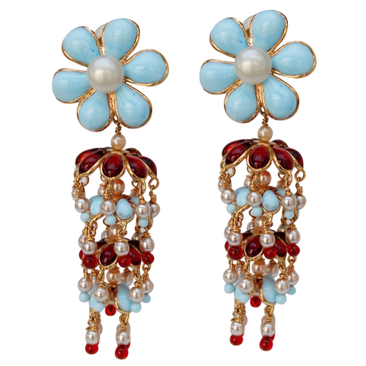 Non Signé / Unsigned Motifs Floraux Turquoise Glass Earrings for Women \N
