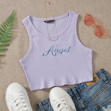 Letter Graphic Rib-knit Crop Sweater Vest
