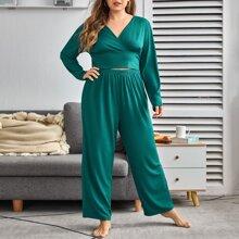 Einfarbiger Schlafanzug Set mit V Kragen