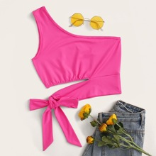Neon Pink One-Shoulder Cutout Crop Top