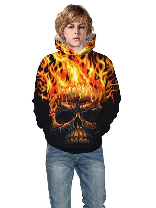 Long Sleeve Flame Skull Pullover 3D Fall Kid's Hoodies