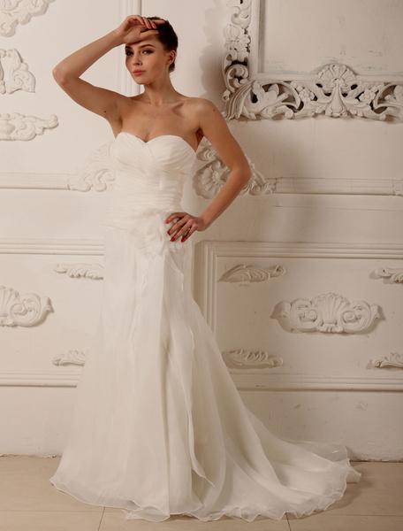 Milanoo Vestido de novia escote palabra de honor pliegues