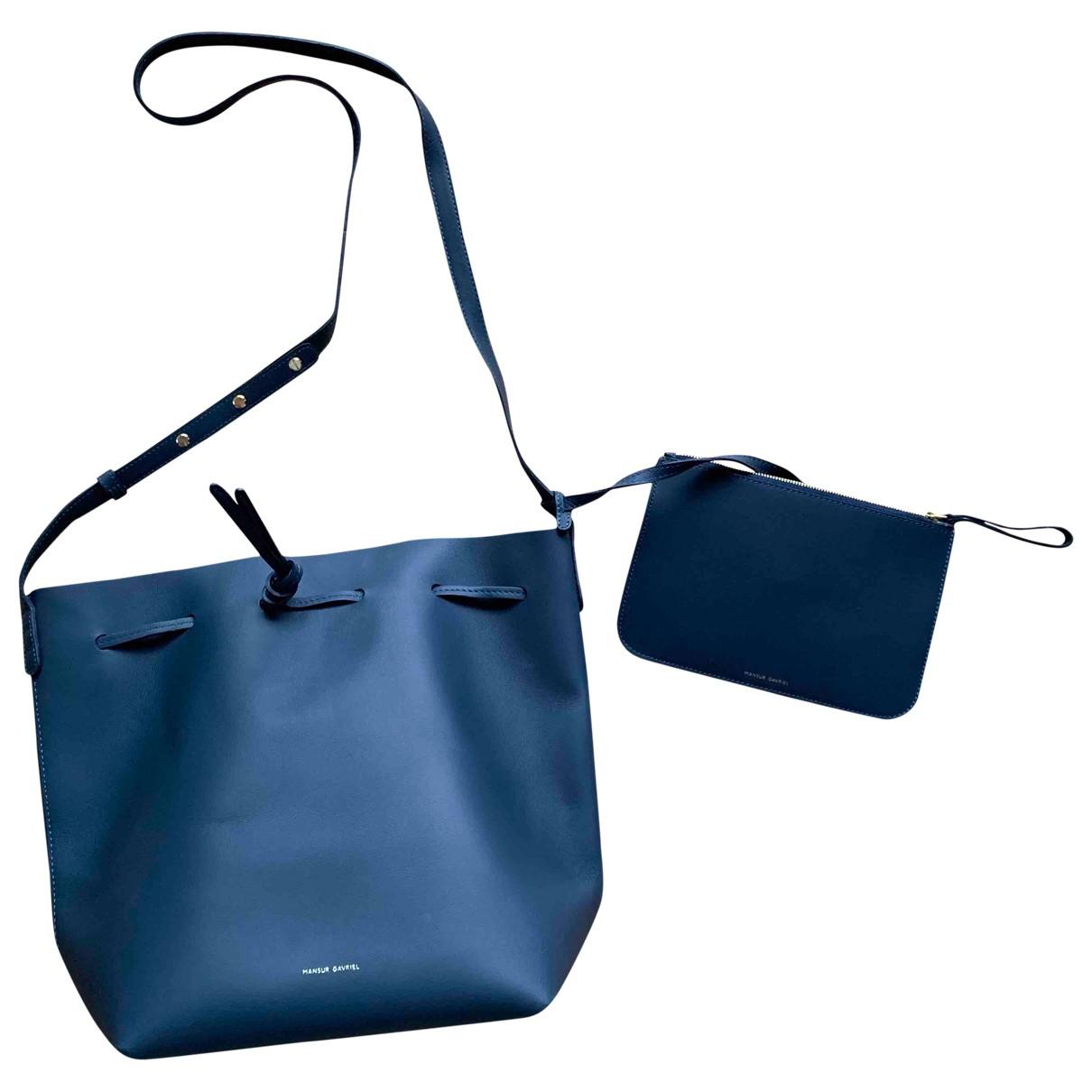 Mansur Gavriel Bucket Handtasche in  Blau Leder