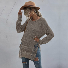 Ripped Split Side High Low Sweater