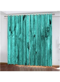 3D Vintage Teal Turquoise Wooden Barn Door Printed Blackout Curtains 200g/m² Polyester 70% Shading Rate and UV Rays Environmentally Friendly Printing