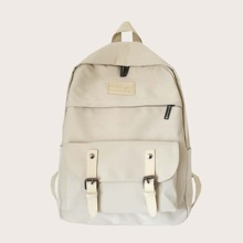 Buckle Decor Large Capacity Backpack
