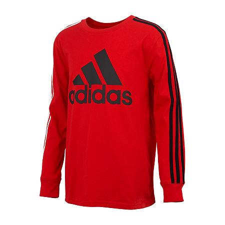 adidas Big Boys Cuffed Sleeve Hoodie, Medium (10-12) , Red