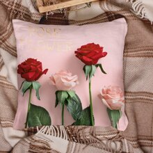 1pc Rose Print Cushion Cover Without Filler