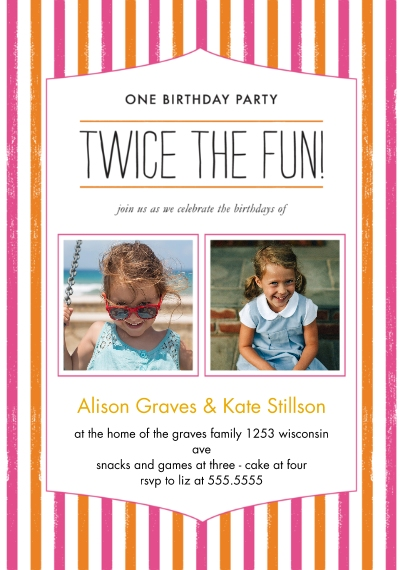 Kids Birthday Party Invites 5x7 Cards, Premium Cardstock 120lb with Scalloped Corners, Card & Stationery -Twice the Fun Joint Girl Striped Bday