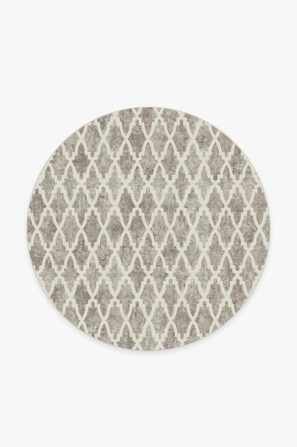 Washable Rug Cover & Pad   Soraya Trellis Ash Grey Rug   Stain-Resistant   Ruggable   6' Round