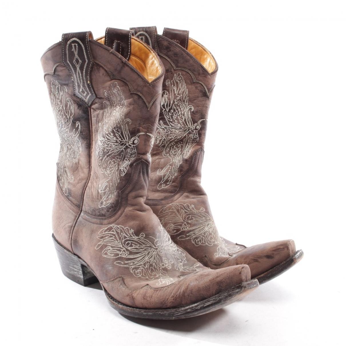 Mexicana - Boots   pour femme en cuir - marron