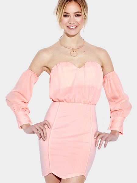 Yoins Pink Sweet heart Neckline Off-shoulder Body-conscious Sexy Dress