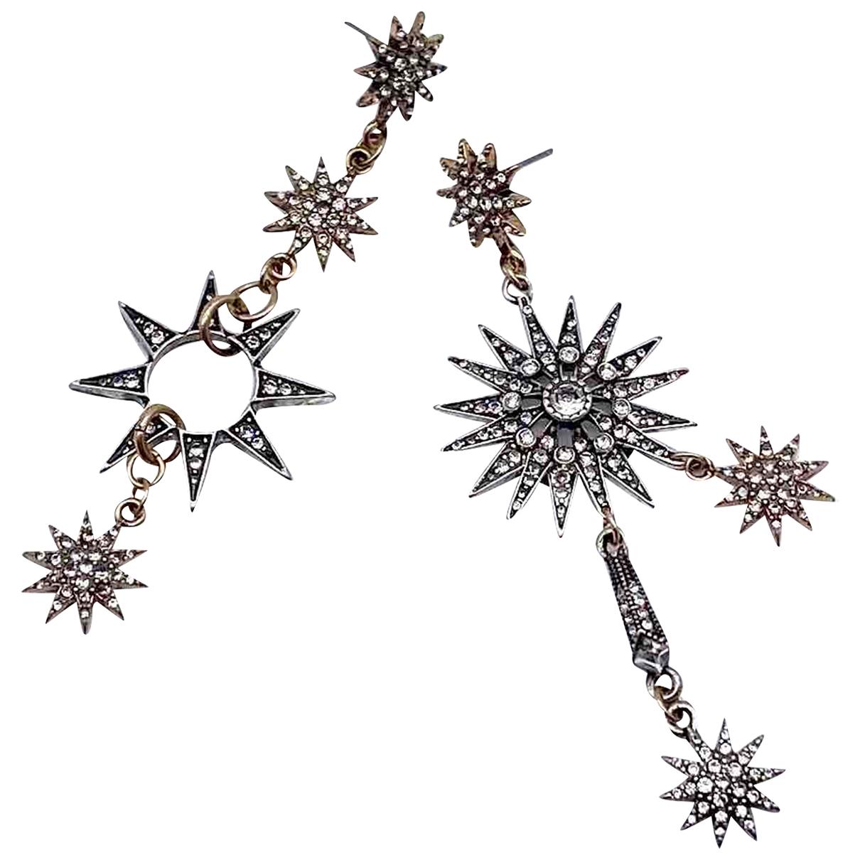 Non Signé / Unsigned Motifs Etoiles Silver Metal Earrings for Women N