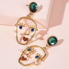 Gemstone Decor Figure Drop Earrings 1pair