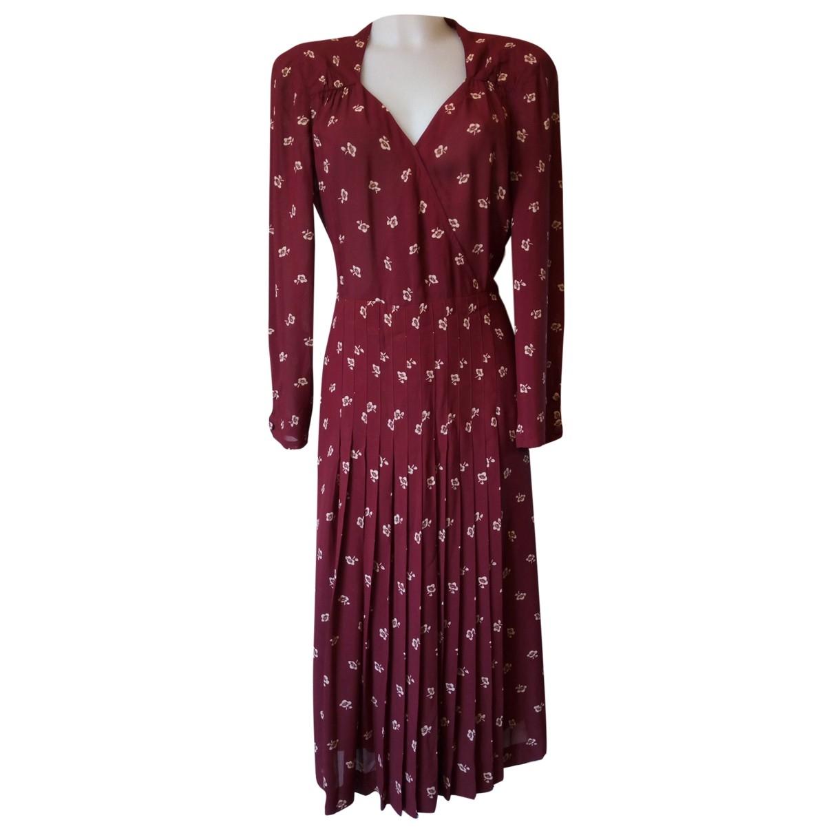 Non Signe / Unsigned Oversize Kleid in  Bordeauxrot Viskose