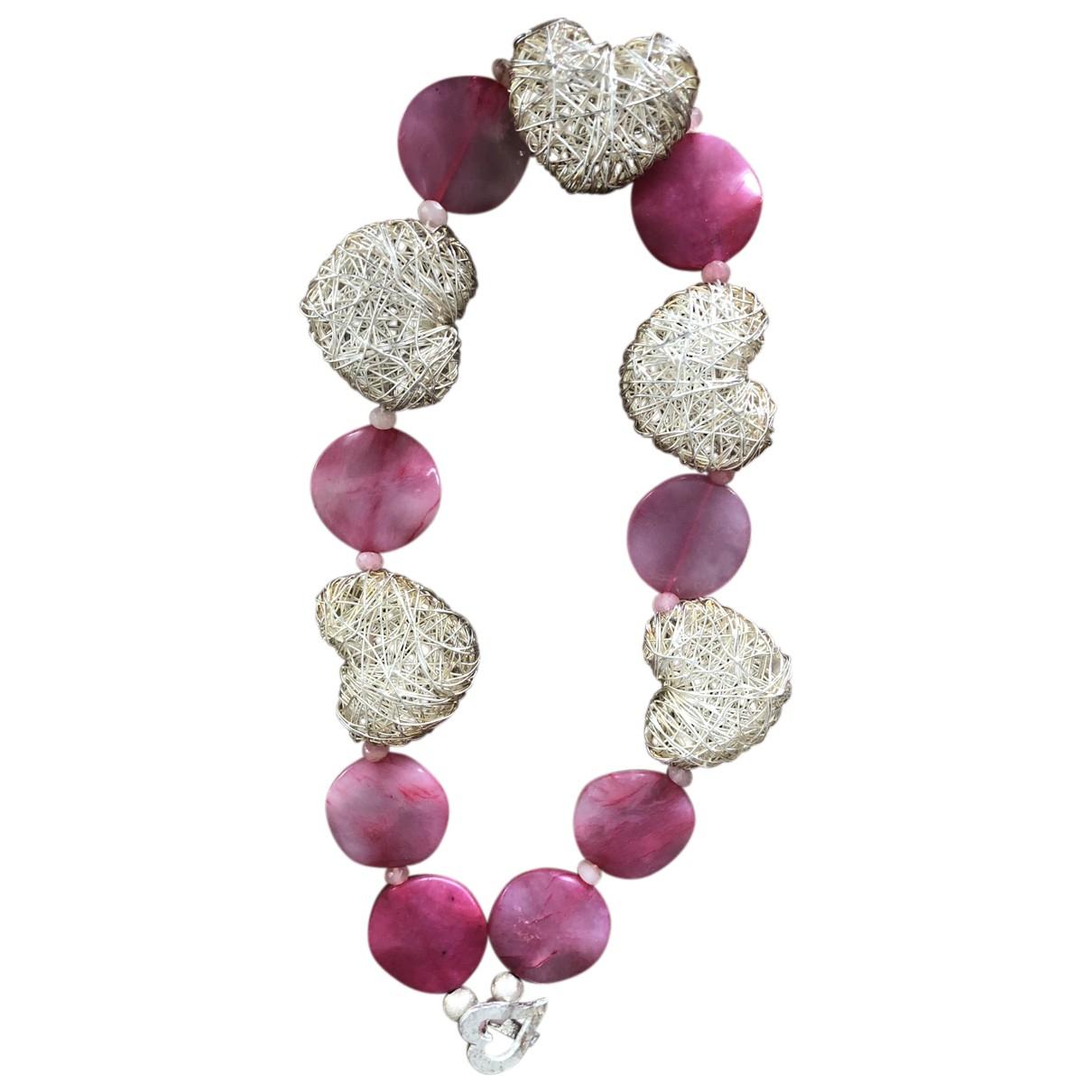 - Collier Motifs Coeurs pour femme en jade - rose