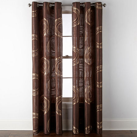 JCPenney Home Focus Grommet-Top Curtain Panel, One Size , Brown