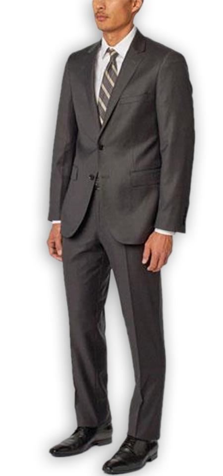 Men's Charcoal  Notch Lapel 100% Wool Double Vent Two Piece Suit