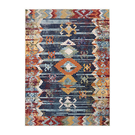 nuLoom Vintage Abstract Osteen Rectangular Rug, One Size , Blue