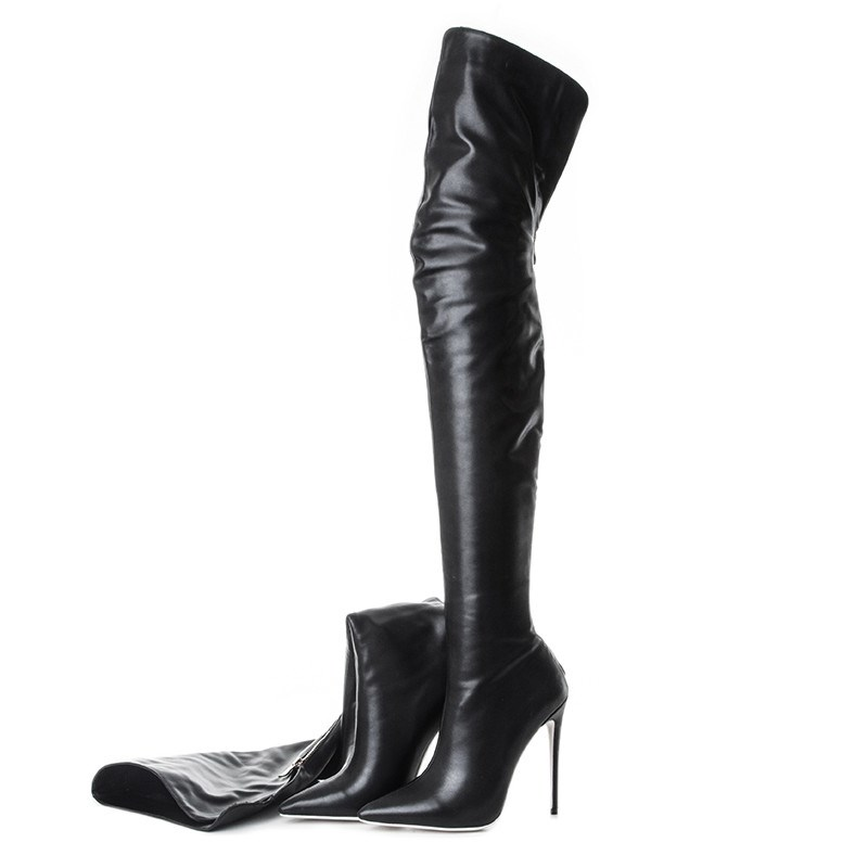 Ericdress Plain Back Zip Pointed Toe Short Floss Boots