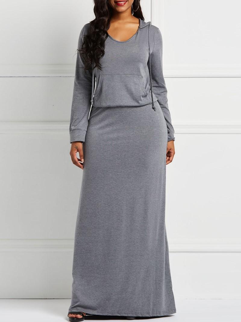 Ericdress Long Sleeves Hoodie Pullover Pocket Dress