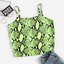 Snakeskin Print Crop Cami Top