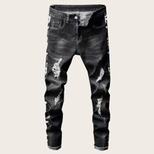 Guys Slogan Print Ripped Jeans