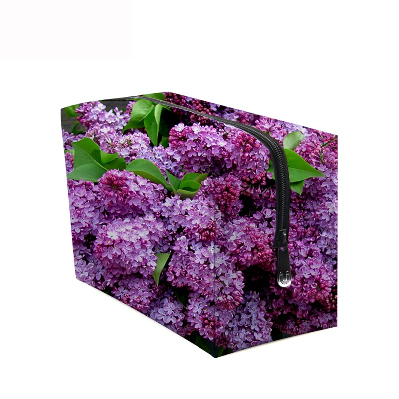 3D Portable Rose Red Lilacs Printed PV Cosmetic Bag
