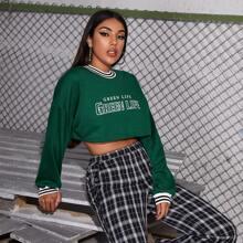Crop Pullover mit Streifen und Buchstaben Grafik