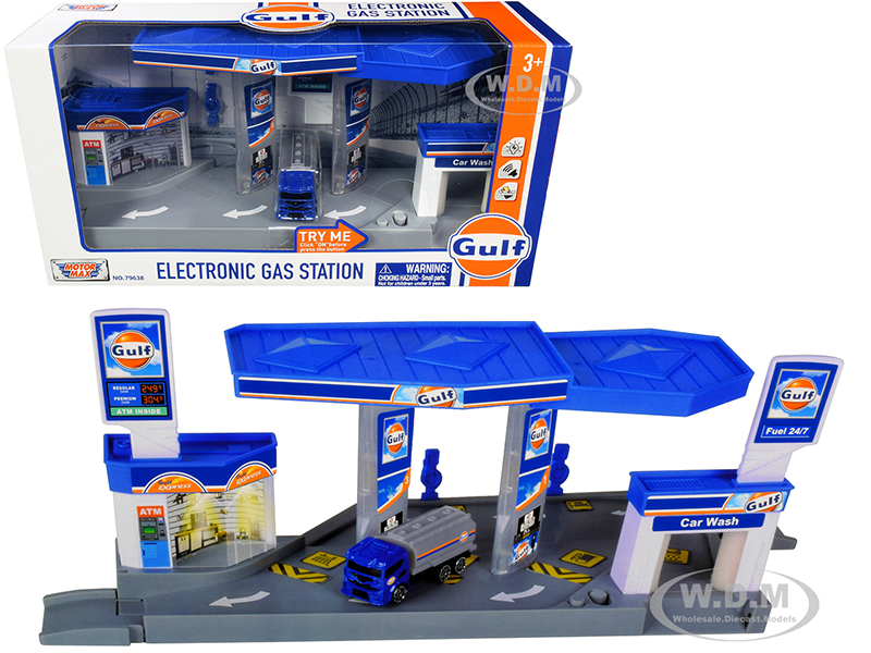 Gulf Electronic Gas Station Diorama with Light and Sound and Tanker Truck 1/64 Model by Motormax