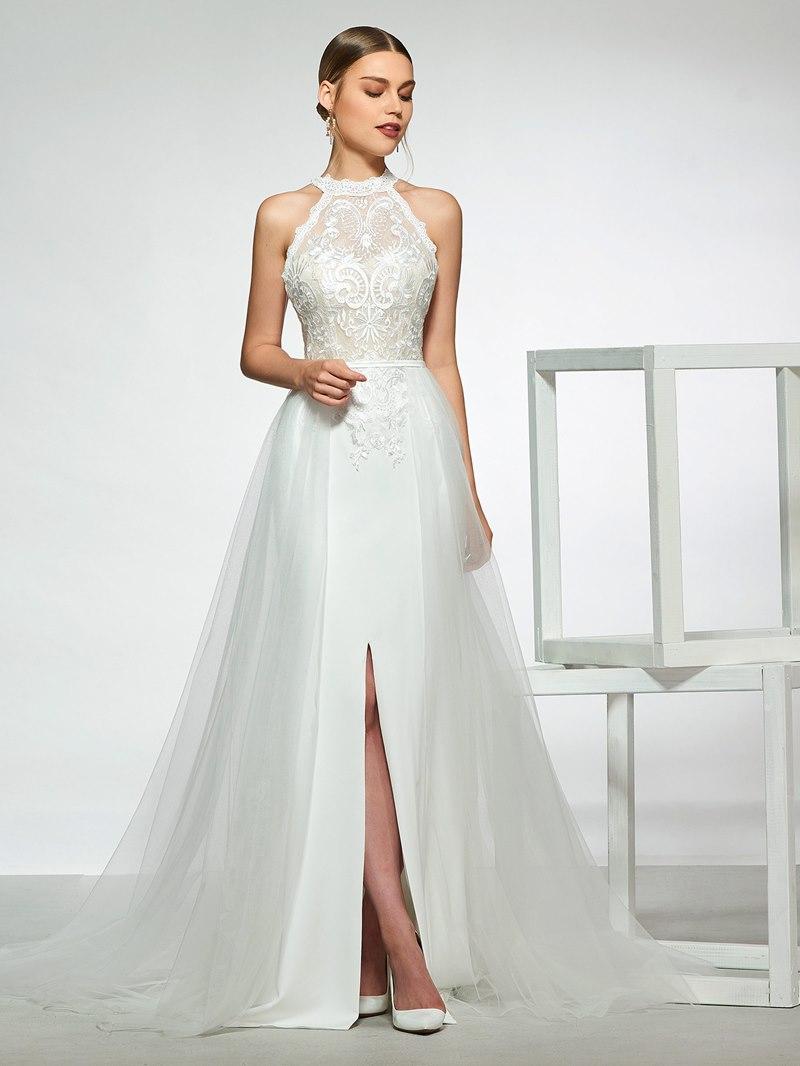 Ericdress Halter Split-Front Lace Wedding Dress