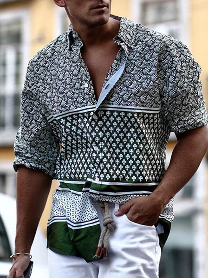 Ericdress Geometric Lapel Print Single-Breasted Loose Men's Shirt