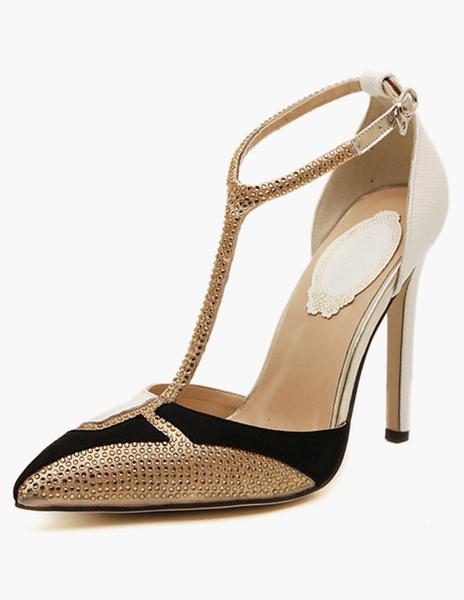 Milanoo PU Leather Pointed Toe Stiletto Heel Rhinestones Strappy High Heels Women Shoes