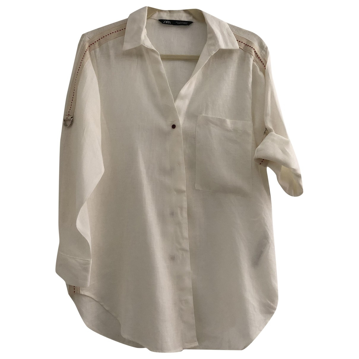 Zara - Top   pour femme en lin - blanc