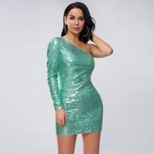 Shoulder Sequin Bodycon Dress