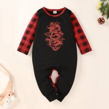 Baby Boy Chinese Dragon And Gingham Print Jumpsuit