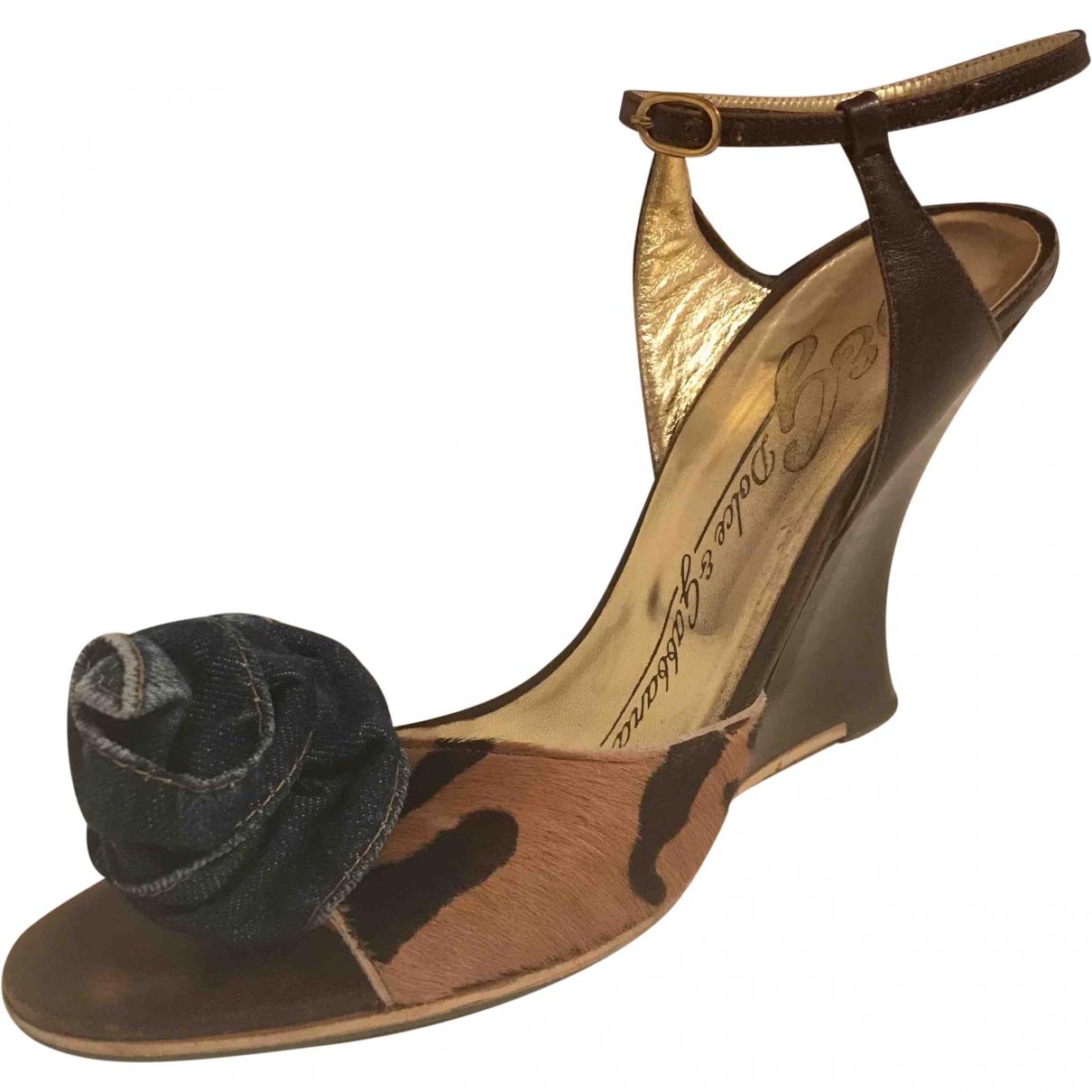 D&g \N Brown Pony-style calfskin Sandals for Women 39 EU