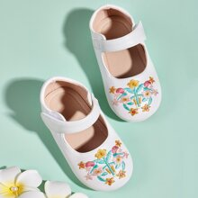 Toddler Girls Floral Embroidery Flats