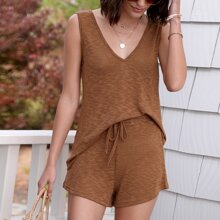 Double V Neck Solid Tank Top & Tie Waist Shorts Set