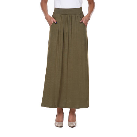 White Mark Womens Mid Rise Stretch Maxi Skirt, Medium , Green