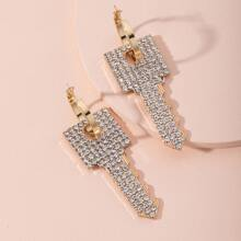 Rhinestone Key Drop Earrings