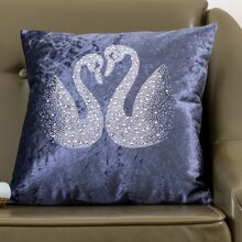 Swan Pattern Cushion Cover Without Filler