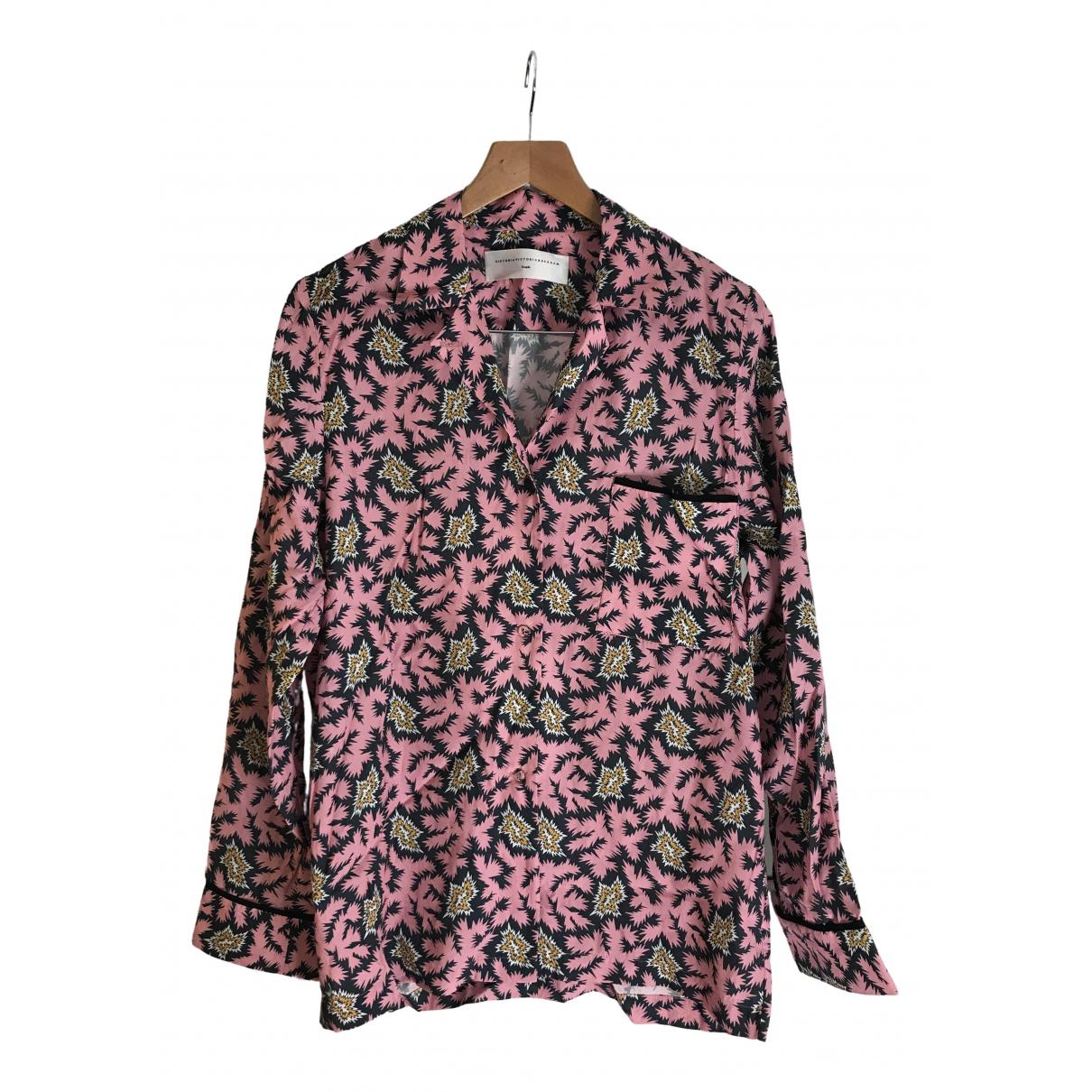 Victoria Beckham - Top   pour femme en lin - rose