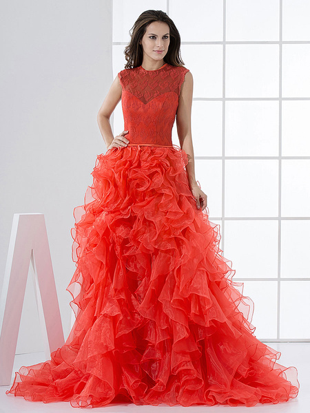 Milanoo Luxurious Red Jewel Neck Organza Bridal Wedding Dress